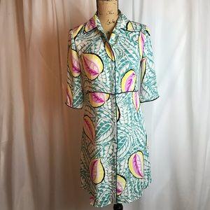 Theory Walda Button Down Caribbean Shirt Dress
